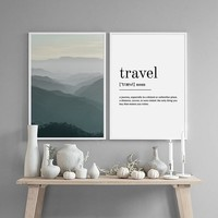 Posters and Prints Mountain Travel Fog Poster Art Nordic Scandinavian Decor Wall Picture for Living Room Wall Art Canvas Print