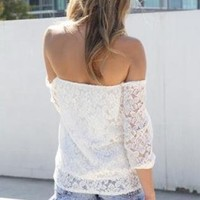 SUMMER PRINCESS WHITE OFF-SHOULDER LACE BLOUSE TOP
