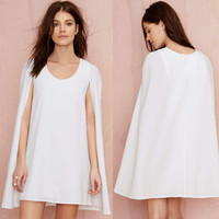 White Chiffon Mini Cape Dress