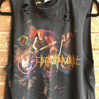 DEf LEPPARD, size medium, bleached, distressed,cropped  band concert T  shirt, rock n roll, rock tee