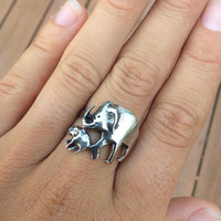 Vintage sterling silver elephant ring size 6 animal band