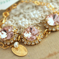 Pink Blush Rhinestone Bracelet, bridesmaids,Bride jewelry - 18k gold filled and gold plated  Swarovski Bracelet.