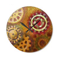 Steampunk Wall Clock with gears, geeky clock, novelty gift ,decoarative wall clock in red, orange and yellow