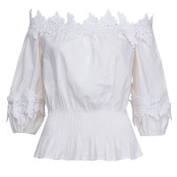 White Off Shoulder Lace Applique Detail Peplum Blouse