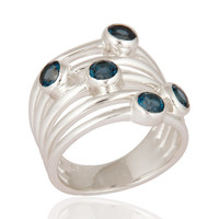 London Blue Topaz Gemstone Desinger Ring Made In 925 Sterling Silver Jewelry