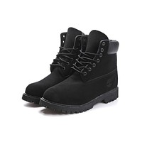 Timberland Boos With Fur Upper Leather Black