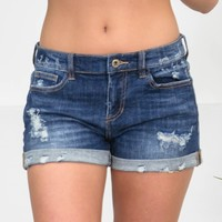 Dark Distressed Mid-Rise Cuffed Shorts