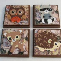 Rustic Animal Room Wall Plaques - Set of 4 Animal Lodge Room Decor - Owl Sign, Deer Sign, Raccoon Sign, Hedgehog / Porcupine Sign