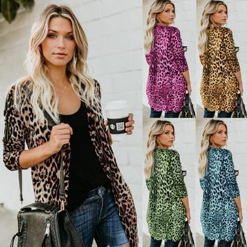 Hot style sexy cardigan v-neck long-sleeve buttons leopard print long coat