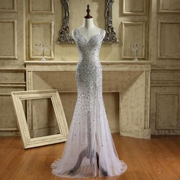 Sexy Mermaid Prom Dresses Formal Tulle Sweetheart Crystal Beading Sequined Open Back Floor Length Party Bridal Gown