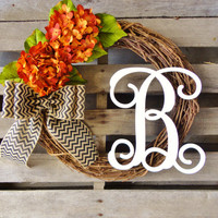 Fall Wreath,Grapevine Wreath, Door Wreath, Monogram Wreath, Hydrangea wreath, VIne Monogram and a Chevron Burlap Bow