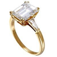 Boucheron Tapered Baguette and Emerald Cut Diamond Yellow Gold Engagement Ring