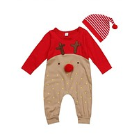 Emmababy born Baby Boy Girl deer cartoon Christmas Rompers bebe kids cotton cute Clothes Romper Outfit +Hat