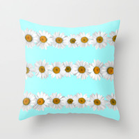 Daisy Chains on Bright Mint Throw Pillow by Tangerine-Tane