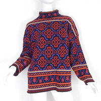 Vintage 90s Oversized Fair Isle Women's Sweater - Small - Colorful Red Purple Black Long Baggy Nordic Patterned Knit Jumper - Big Sweater