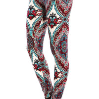 WINE EMBROIDERED PRINT LEGGINGS