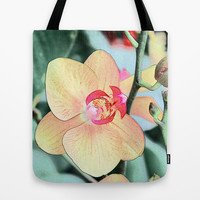 pretty yellow orchid flowers, botanical art Tote Bag by NatureMatters