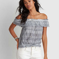 AEO Bubble Off-The-Shoulder Top, Washed Blue