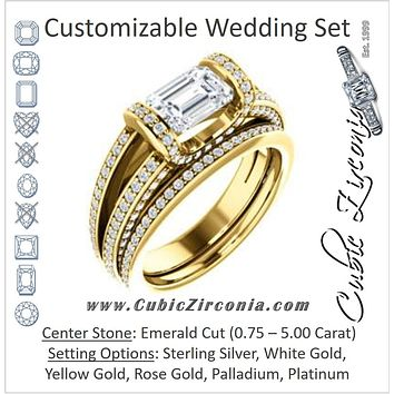 CZ Wedding Set, featuring The Scarlett engagement ring (Emerald Cut with Prong-Accented Bar Basket and Split Pavé Band)
