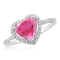 Sterling Silver Created Pink Sapphire Diamond Heart Ring (1/15 cttw), Size 7