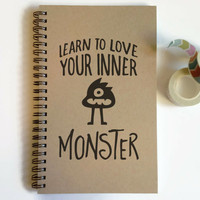 Writing journal, spiral notebook, cute diary, small sketchbook, scrapbook, memory book, 5x8 journal - Learn to love your inner monster