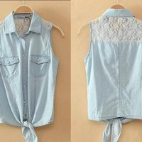 Denim Shirt With Lace from Tulita