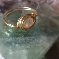 natural Golden Rutilated Quartz ring artisan wire wrapped stone ring Gemini Taurus Birthstone May gemstone crystal jewelry silver or gold
