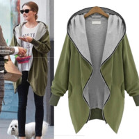 Womens Loose Zipper Hoodie Cardigan Coat In Plus Size