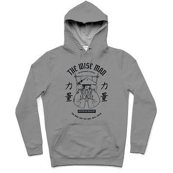The Wise Man Trendy All-Over Print Solid Suva Grey Hoodie