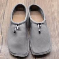 Handmade Soft Leather Square Toe Loafer Flats Pumps Grey