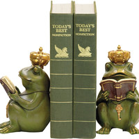 0-018024>Pair Superior Frog Gatekeeper Bookend Green/Gold
