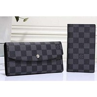 Louis Vuitton Women Fashion Leather Wallet Purse Set Two Piece