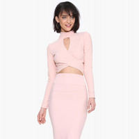 Pink Closed Neck Long Sleeve Cut-out Cropped Top