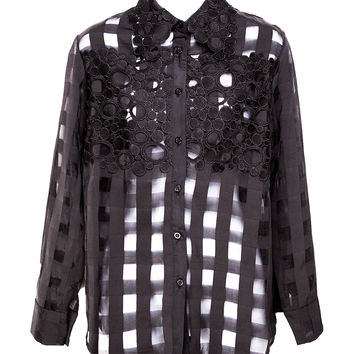 Check Me Out Sheer Black Button Up