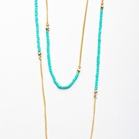 Double Chain Bead Necklace