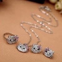 3pc Set, Childrens Girls Jewelry Silver Hello Kitty Necklace Ring, & Earrings Set. Silver Plated with Crystals
