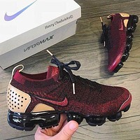 Bunchsun Nike Air Vapormax Popular Men Casual Air Cushion Sport Running Shoes Sneakers Burgundy