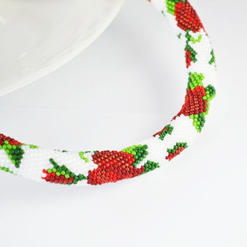 Jewelry, Necklaces, Beadwork, Necklace, bead crochet rope - rose necklace