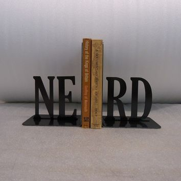 NERD Text Bookends by KnobCreekMetalArts on Etsy
