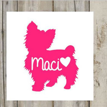 Yorkie Name Puppy Dog Decal for Cars, Yeti, RTIC'S, Laptop, Dog Bowls and Much More - Yorkie Dog - Dog Name - Dog Mom
