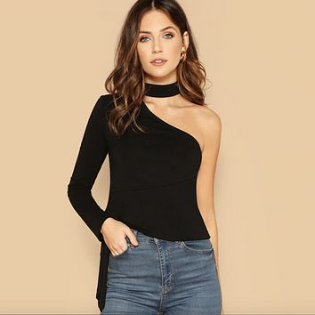 Side Knot One Sleeve Top