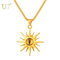 U7 Retro Silver Black Stainless Steel Punk Necklaces Sun Flower Eye Flame Pendent Necklace Men's Jewelry Male Gifts Bijoux P1183