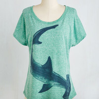Nautical Mid-length Short Sleeves Hammerhead Over Heels Top by ModCloth