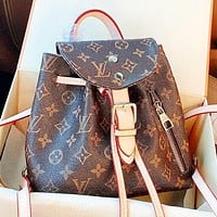Hipgirls LV Fashion new monogram print leather shoulder bag handbag crossbody bag book bag backpack bag