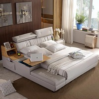 Luxury & Stylish Leather Side Storage Bed Furniture