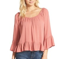 Junior Women's Living Doll Bell Sleeve High/LowPeasant Top,