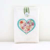 Embroidered IPad mIni case , fabric padded tablet sleeve with hand embroidery in heart of flowers design , uk seller