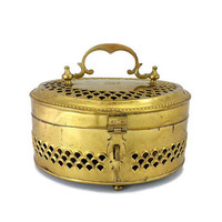 Brass Cricket Box Potpourri Caddy Chest Vintage Pierced Container Metal Hinged Lid Handle Boho Home Accent Keepsake Treasure Storage