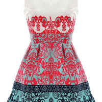 Jacquard Sleeveless Mini Dress