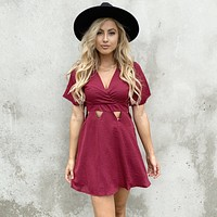 Lost in Love Wine Skater Dress